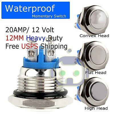 MOMENTARY PUSH BUTTON Horn Switch Blue LED Light for