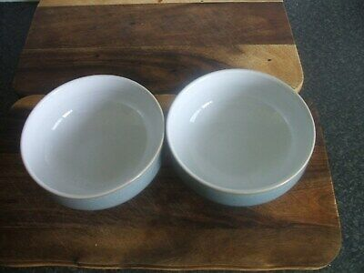 2 x DENBY REGENCY GREEN SOUP / CEREAL BOWLS 6 IN IN DIA  - V.G.C.