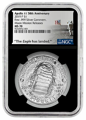 2019 P US Apollo 11 Silver Dollar Moon Mission Releases NGC MS70 Blk SKU58654