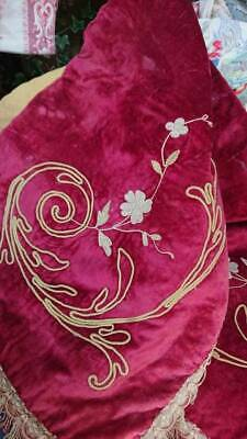 DELICIEUX ANTIQUE FRENCH CHATEAU EMBROIDERED VELVET PORTIERE PELMET VALENCE c188