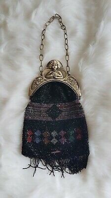 Genuine Antique Vintage French Edwardian Or Victorian Celluloid Beaded Purse Bag
