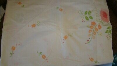 Vintage Fieldcrest Perfection Percale Floral Blossoms Twin Size Flat Sheet