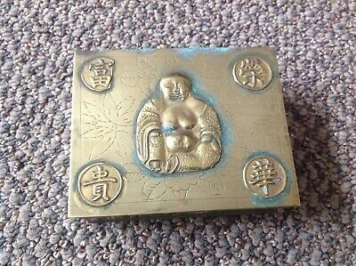 Old Chinese Brass Buddha Box*beautiful wood lined accent piece Age w/oxidation
