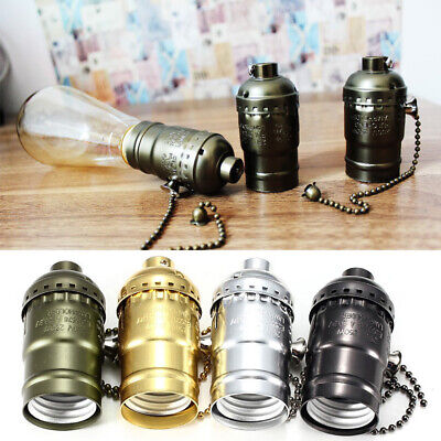 DIY Zipper Style Vintage Edison Screw Lamp Holder E27 With Pull Chain Switch