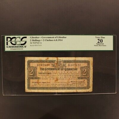 Gibraltar 2 Shillings=2 Chelines 6.8.1914 P#6 Banknote PCGS 20