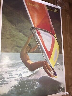 Original1970's Hawaii Naturally Nude/ Naked Female Wind Surfing Poster ~ 3' x 2'