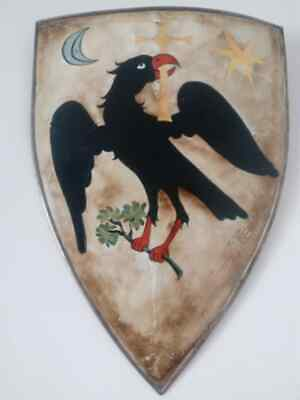 Raven Medieval shield handcrafted and handpainted steel with leather handles