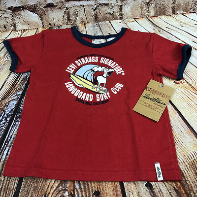 T-Shirt Toddler Boy 3T Levi Strauss Signature Longboard Surf Club Red Kids Tee