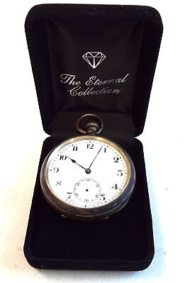 Antique Hallmarked W.M STERLING SILVER Automatic PocketWatch WORKING+CASED - A33