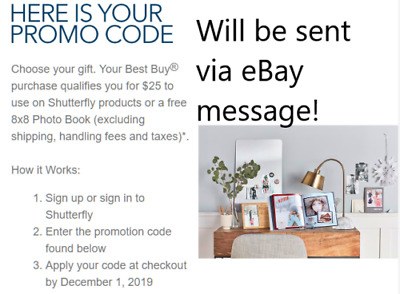 Shutterfly $25 gift code or 8x8 photo book Messaged Code, same day, Exp 12/1/19