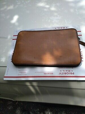 Samsonite Leather Portfolio Document Folder Zipper file brown tan vintage retro