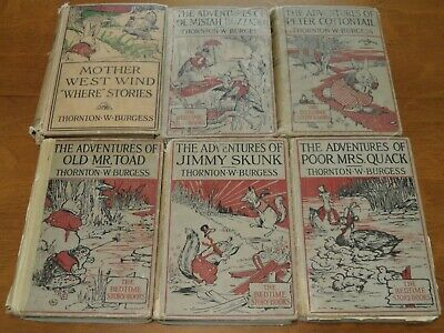 Vintage Thornton Burgess THE BEDTIME STORY BOOKS Adventures Of Series LOT OF 6