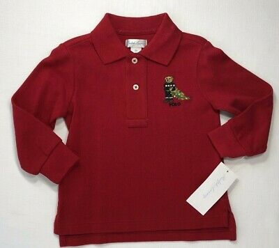 NWT Ralph Lauren Baby Boys 12 18 24 Months Red Christmas Bear Polo Shirt $35