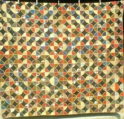 Antique Vintage Early 1900S Dazzling Magic Circle Folk-Art Patchwork Quilt Wow!