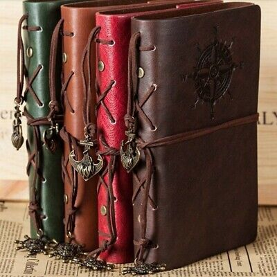 Retro Vintage PU Leather Bound Blank Page Notebook Note Notepad Journal Diary