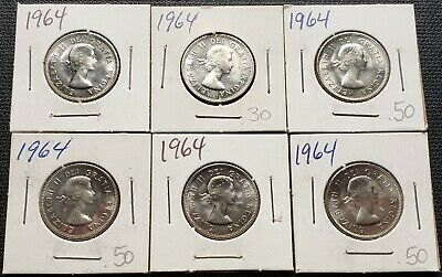 Lot of 6x 1964 Canada 5 Cent Nickels - Brilliant UNC MS++ Some with CAMEO