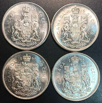 Lot of 4x Canada 50 Cents Half Dollar Coins - Dates: 1965 & 1966