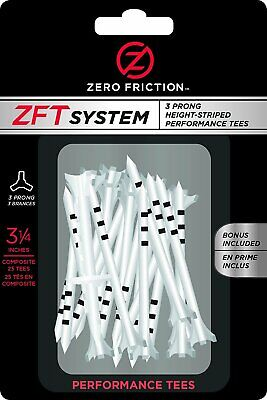 "Zero Friction ZFT System 3-Prong Height Striped Golf Tees 3-1/4"" 25-Pack"