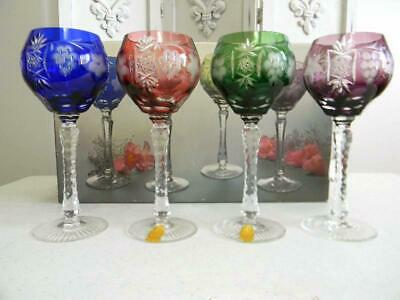 Fancy Bohemian Cut to Clear Crystal Asst. Color Wine Glasses/Goblets~Orig Box
