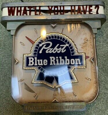 """1940's Metal 13"""" X 14"""" vintage Glass Front Pabst Blue Ribbon Working clock Sign!"""