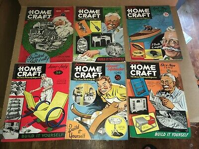 Vintage Lot Of 6 Popular Homecraft Magazines - Complete 1940 Year