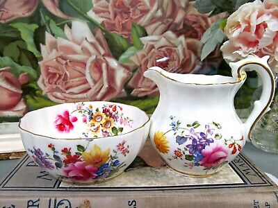 CROWN DERBY floral pink rose and flowers creamer and sugar set England
