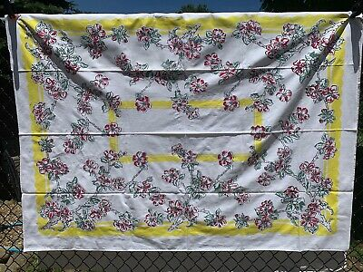 Vintage Cotton Tablecloth 40s50s PRETTY Red Poppies Floral 49 x 66