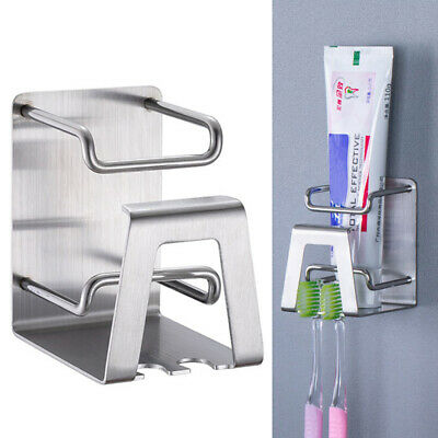 Organizer Wall Mount Stainless Steel Toothbrush Holder Toothpaste Self-adhesive