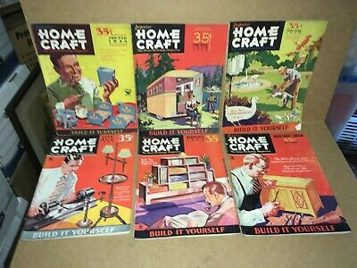 Vintage Lot Of 6 Popular Homecraft Magazines - Complete 1934 Year