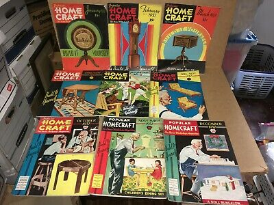 Vintage Lot Of 9 Popular Homecraft Magazines - Complete 1937 Year