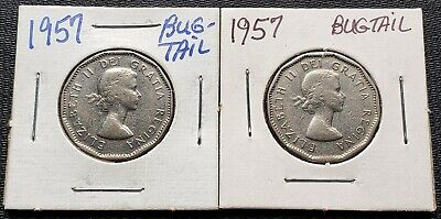 Lot of 2x Canada 1957 5 Cent Nickels - Bugtail Varieties