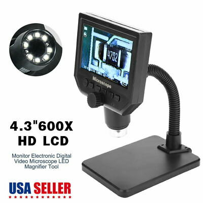 "4.3"" 600X HD LCD Monitor Electronic Digital Video Microscope LED Magnifier Tool"