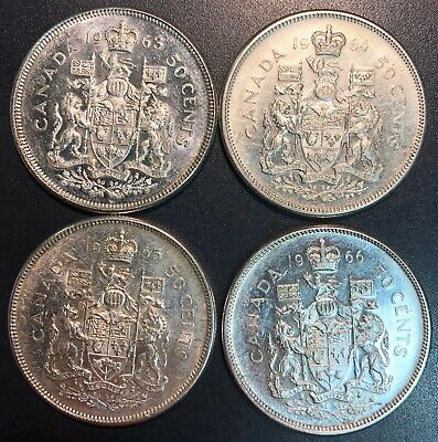Lot of 4x Canada Silver 50 Cents Half Dollars - Dates: 1963, 1964, 1965, 1966