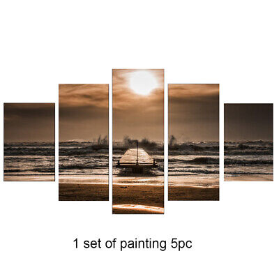 5PCS/Set Living Room Painting Craft Modern Frameless Canvas Home Sunset Pattern