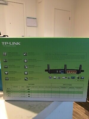 TP-Link Archer C7 AC1750 Smart WiFi Router. Black 1750 mbps 2.5 Ghz and 5 Ghz