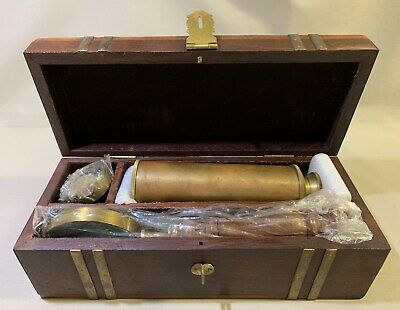Replica Brass Compass, Magnifying Glass, Telescope In Wooden Box