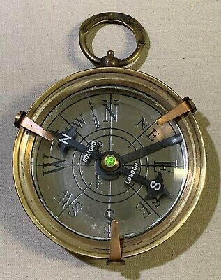 """Replica Brass Antique Compass """"1920 Dollond London To Her Majesty"""" In Wooden Box"""