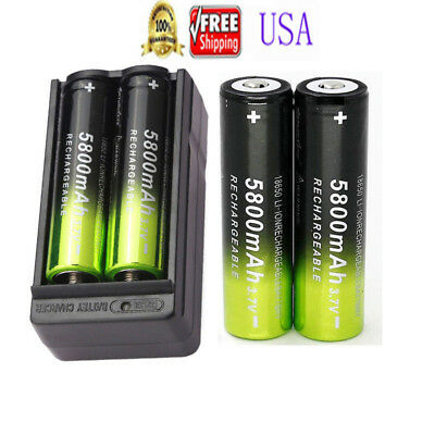 4pcs Skywolfeye 18650 Battery 3.7V 5800mah Rechargeable Li-ion Cell Bat+ Charger