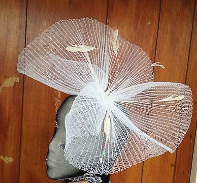 White feather fascinator millinery burlesque headband wedding hat hair piece x