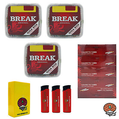 3x Break Volumentabak Giga Box 300g + 1000 Break Hülsen + Zubehör