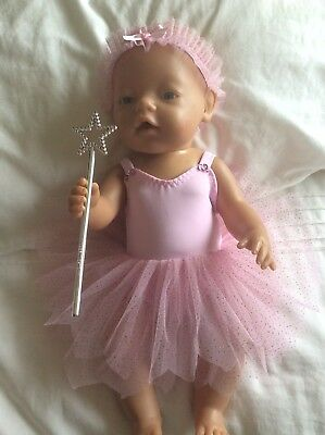 "DOLLS CLOTHES - Fairy Set to fit 17"" Baby Born doll  Pink /pink Sparkles"