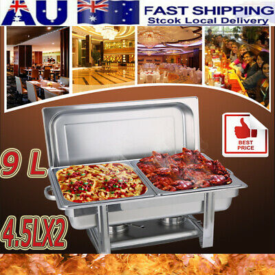NEW 9L/4.5L*2 Trays Bain Marie Chafing Dish Stainless Steel Buffet Food Warmer