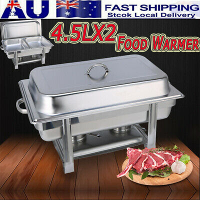 NEW 4.5L*2 Trays Bain Marie Chafing Dish Stainless Steel Buffet Food Warmer AU