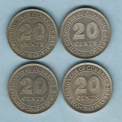 Malaya.  1945 20 Cents x 4 Coins..  All with Lustre..  EF-aUNC