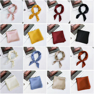 Small Vintage Ladies Head Neck Hair Tie Band Women Square Scarf Silk Feel Satin