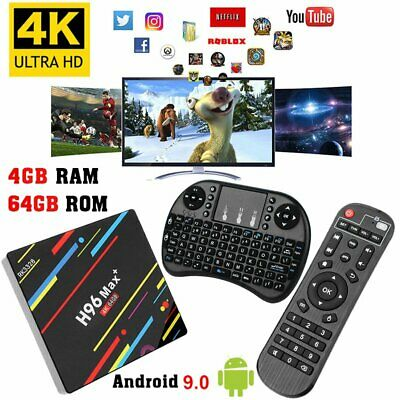 4GB/64GB H96 MAX Plus+ Android 9.0 Smart TV Box Quad Core WIFI USB3.0 + Keyboard