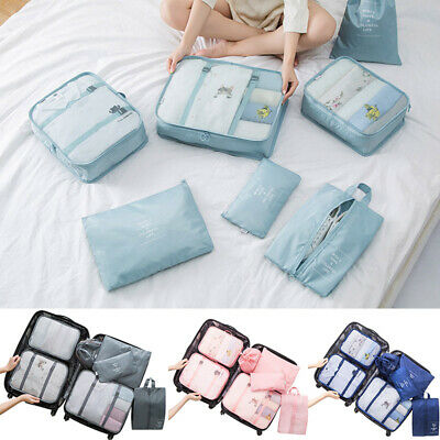 7 Set Waterproof Packing Cube Compression Clothes Storage Bag Travel Insert Case