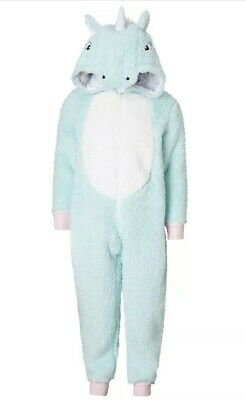 John Lewis Unicorn One Piece Fleece Turquoise Age 10 Perfect Condition Rrp £26