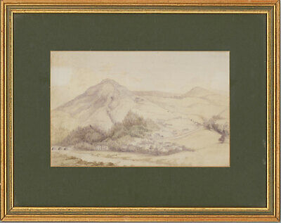 Framed Late 19th Century Watercolour - Welsh Hillside Cottages