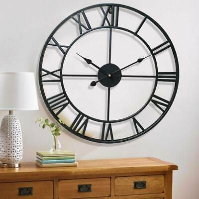60cm Large Roman Wall Clock Numerals Skeleton Black Round Outdoor Garden Metal